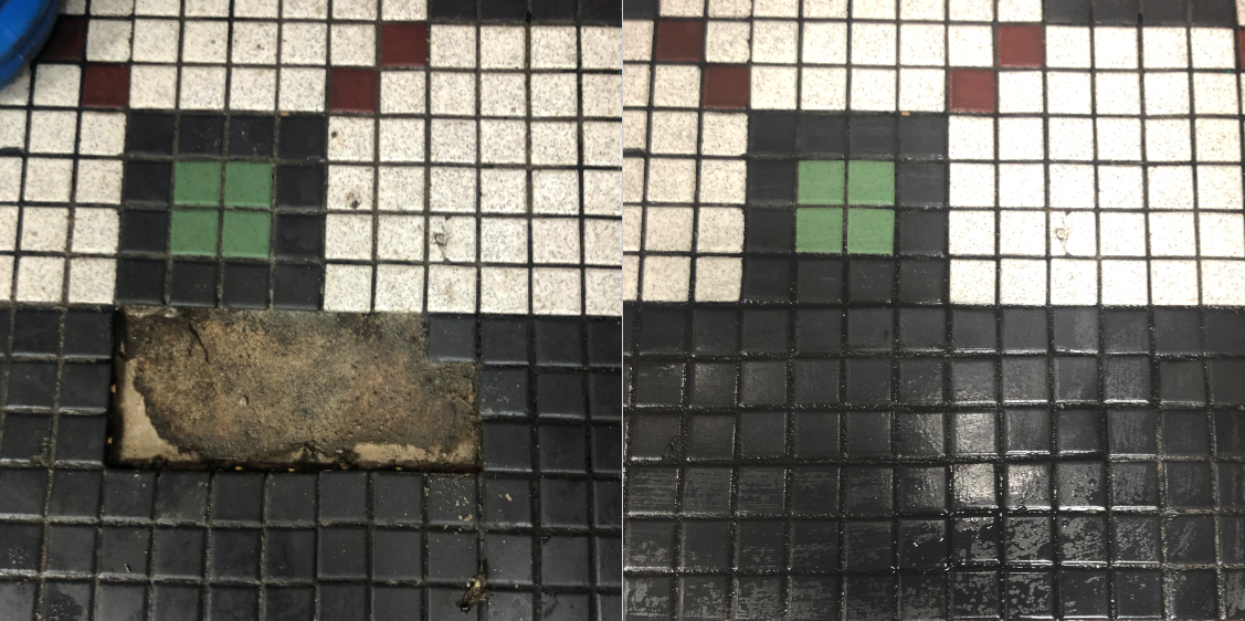DINING ROOM TILE REPAIR